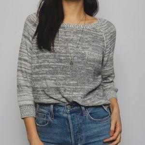 Oak + Fort Knit 3/4 Sleeve Grey Melange Sweater S